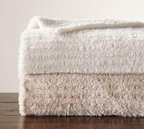 Knitted Faux Fur Oversized Throw