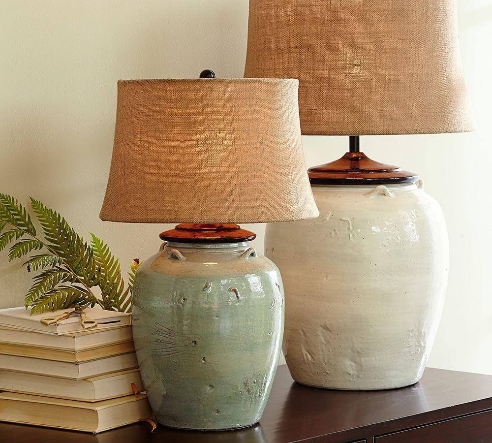Courtney Ceramic Table Lamp Base Seafoam Pottery Barn Ca