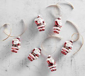 Mercury Glass Mini Santa Ornament Set
