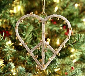 Heart Peace Sign Jingle Bell Ornament