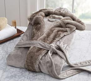 Faux Fur Robe - Grey Tipped Alpaca