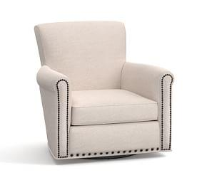 Irving Upholstered Swivel Armchair with Nailheads