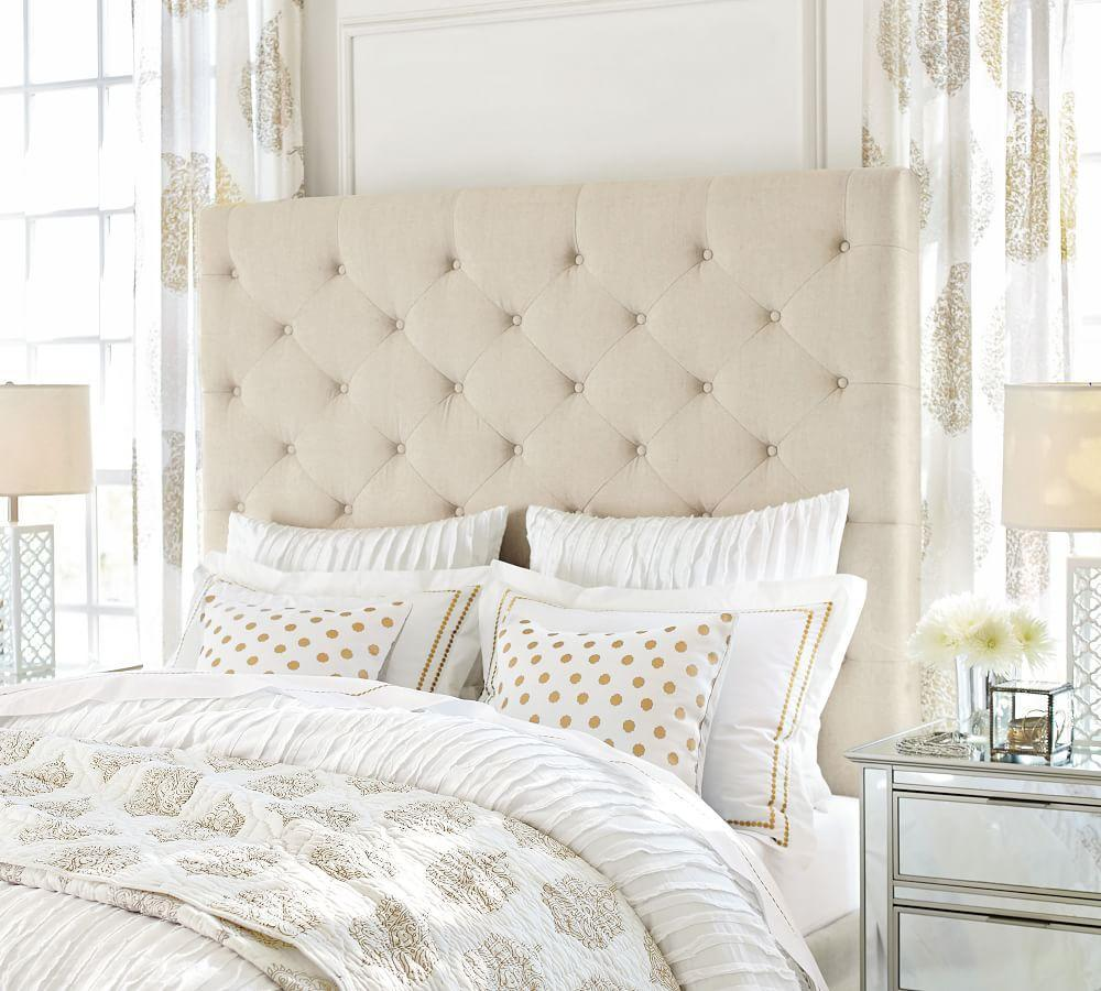 Lorraine Tufted Tall Upholstered Headboard Pottery Barn Ca