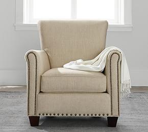 Irving Upholstered Armchair with Nailheads