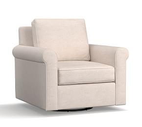 Cameron Roll Arm Upholstered Swivel Armchair