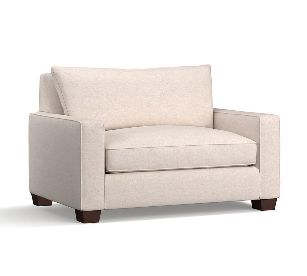 PB Comfort Square Arm Upholstered Twin Sleeper Sofa with Memory Foam Mattress