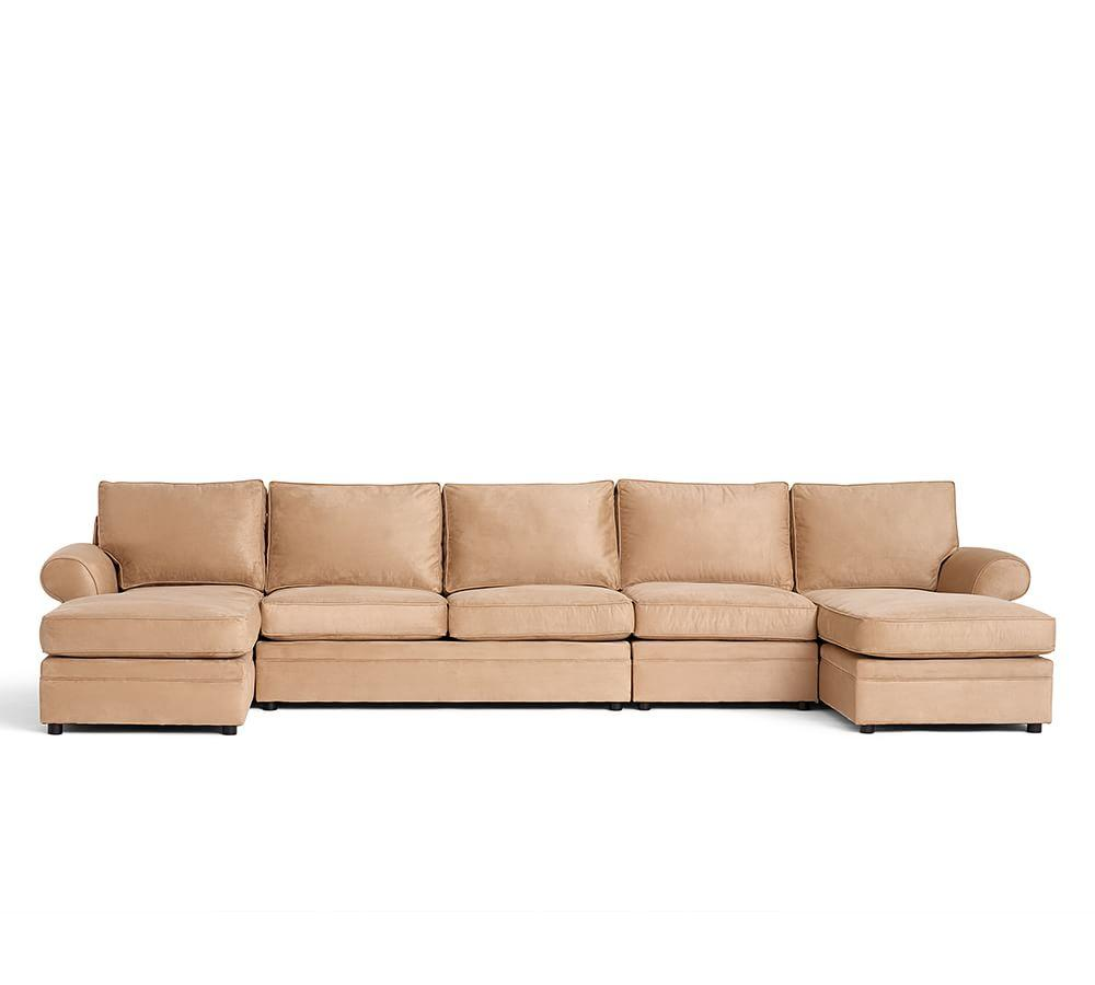 Pearce Roll Arm Upholstered 4 Piece Chaise Sectional