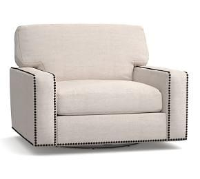 Turner Square Arm Upholstered Swivel Armchair with Nailheads