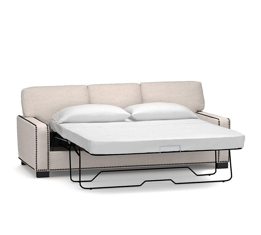 Turner Square Upholstered Sleeper Sofa with Memory Foam Mattress and Bronze Nailheads