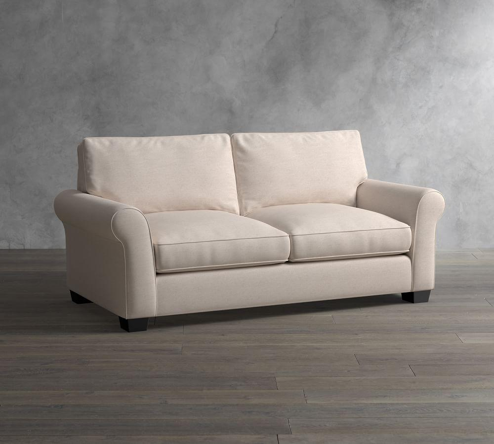 PB Comfort Roll Arm Upholstered Sleeper Sofa with Memory Foam Mattress