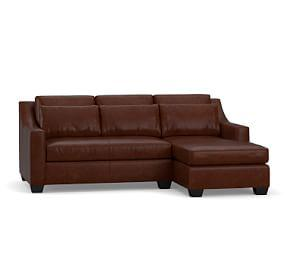 York Slope Arm Deep Seat Leather Chaise Sofa Sectional