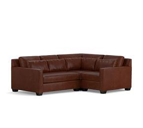 York Square Arm Deep Seat Leather 3-Piece Sectional with Corner