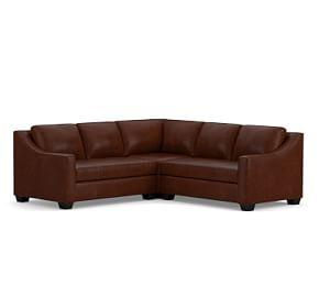 York Slope Arm Leather 3-Piece L-Shaped Sectional with Corner