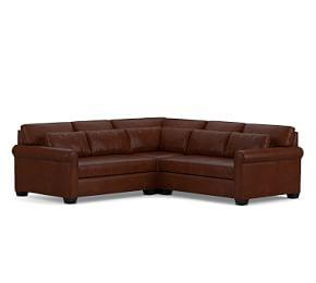 York Roll Arm Deep Seat Leather 3-Piece L-Shaped Sectional with Corner