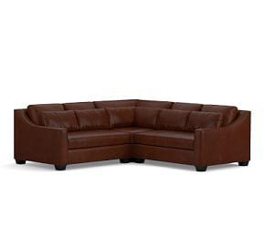 York Slope Arm Deep Seat Leather 3-Piece L-Shaped Sectional with Corner