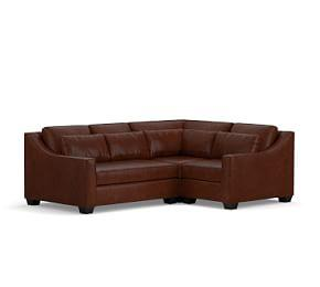 York Slope Arm Deep Seat Leather 3-Piece Sectional with Corner