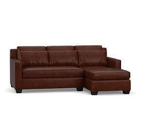 York Square Arm Deep Seat Leather Chaise Sofa Sectional