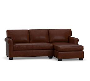York Roll Arm Leather Sofa with Chaise Sectional