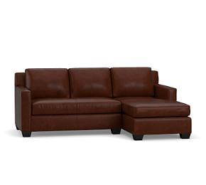 York Square Arm Leather Sofa with Chaise Sectional