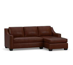 York Slope Arm Leather Sofa with Chaise Sectional