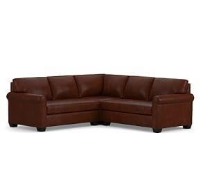 York Roll Arm Leather 3-Piece L-Shaped Sectional with Corner