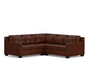 York Square Arm Deep Seat Leather 3-Piece L-Shaped Sectional with Corner
