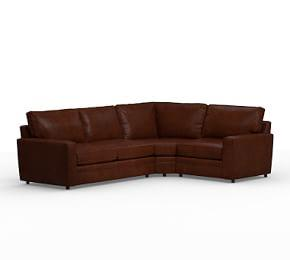Pearce Square Arm Leather 3-Piece Sectional with Wedge