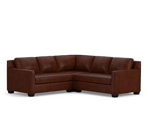 York Square Arm Leather 3-Piece L-Shaped Corner Sectional