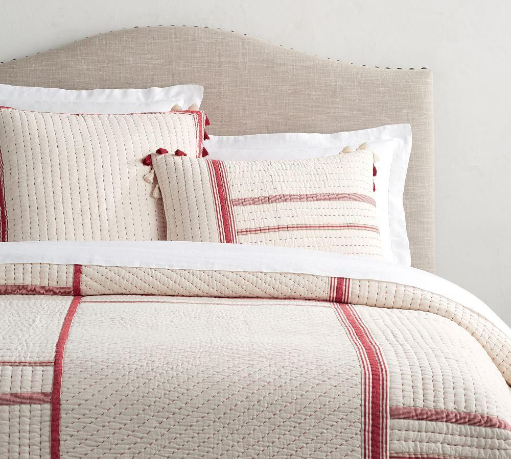 Nellie Pick-Stitch Tassel Cotton Quilt & Shams - Red