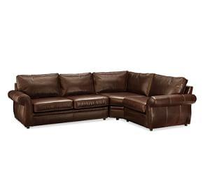 Pearce Roll Arm Leather 3-Piece Sectional with Wedge