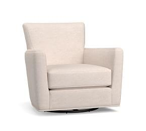Irving Square Arm Upholstered Swivel Armchair