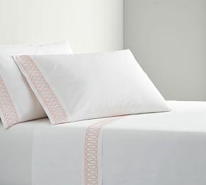 Monique Lhuillier Margaux Embroidered Organic Sheet Set