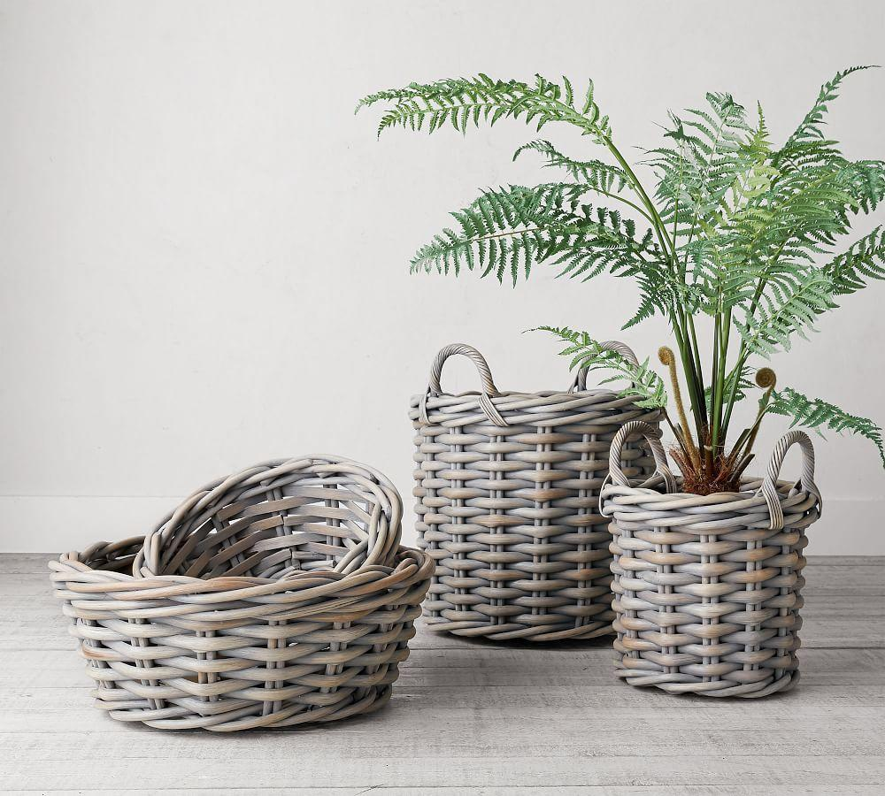 Briar Thick Weave Low Round Basket