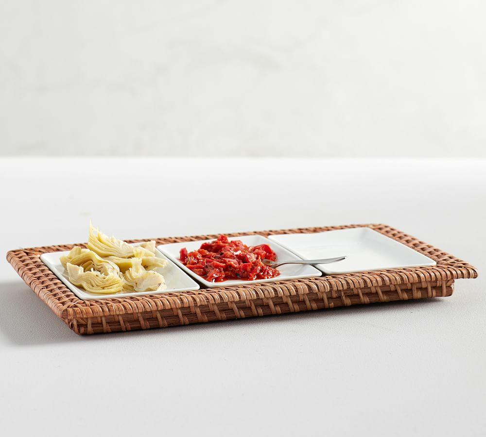Jordan Woven & Ceramic 3 Section Condiment Serve