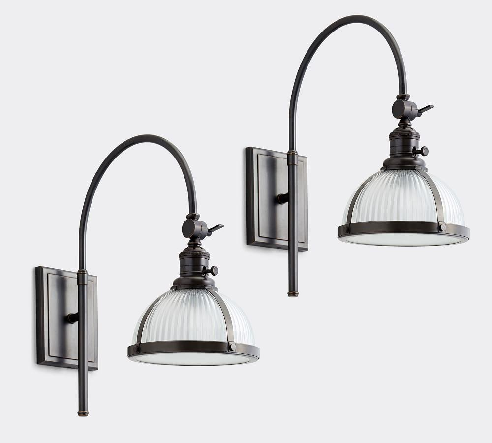 PB Classic Industrial Arc Sconce - Ribbed Glass