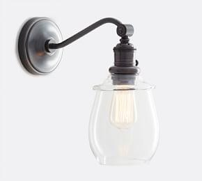 PB Classic Curved Arm Sconce - Petite Glass