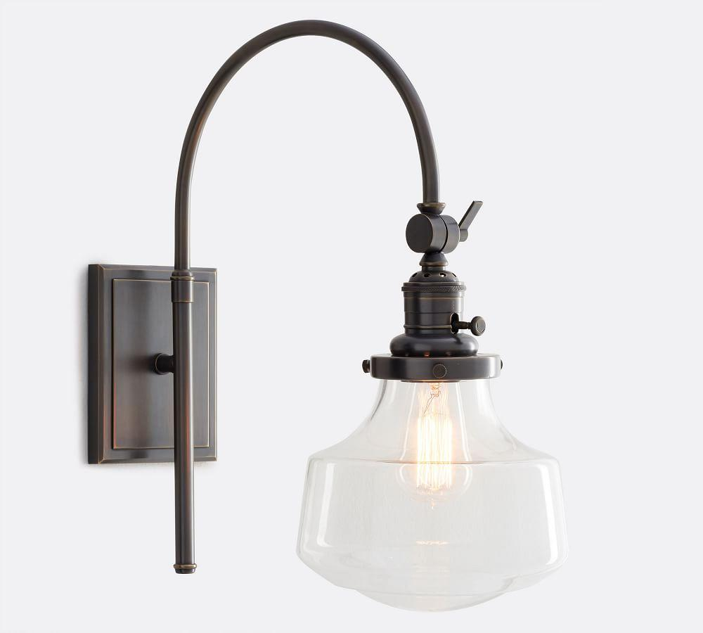 PB Classic Schoolhouse Arc Sconce - Clear Glass