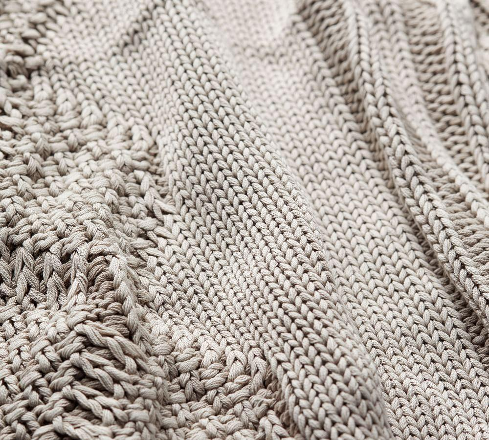 Stonewashed Cable Knit Throw