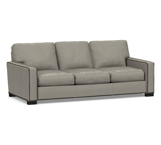 Turner Square Arm Leather Sleeper Sofa with Nailheads