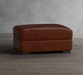 Turner Leather Storage Ottoman with Nailheads
