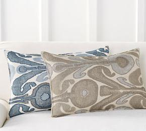 Kenmare Ikat Embroidered Lumbar Pillow Cover