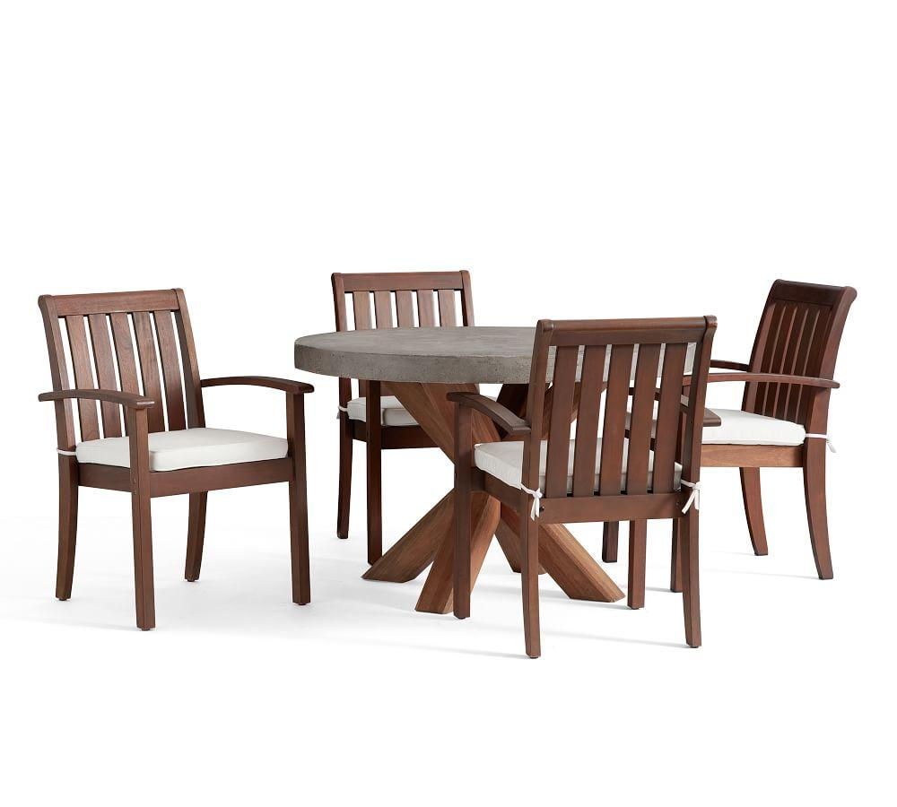 Abbott Round Brown Table  Chatham Honey Stacking Armchair Dining Set