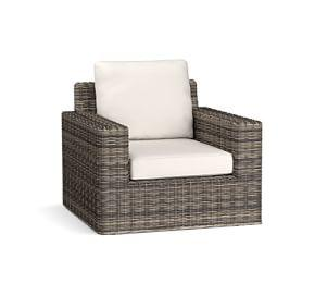 Torrey All-Weather Wicker Square-Arm Swivel Occasional Chair, Charcoal Gray