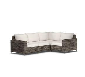 Torrey All-Weather Wicker Square-Arm Sectional Set, Charcoal Gray