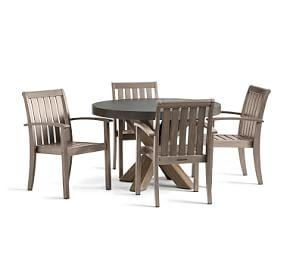 Abbott Gray Dining Table with Chatham Stacking Chair Set, Gray