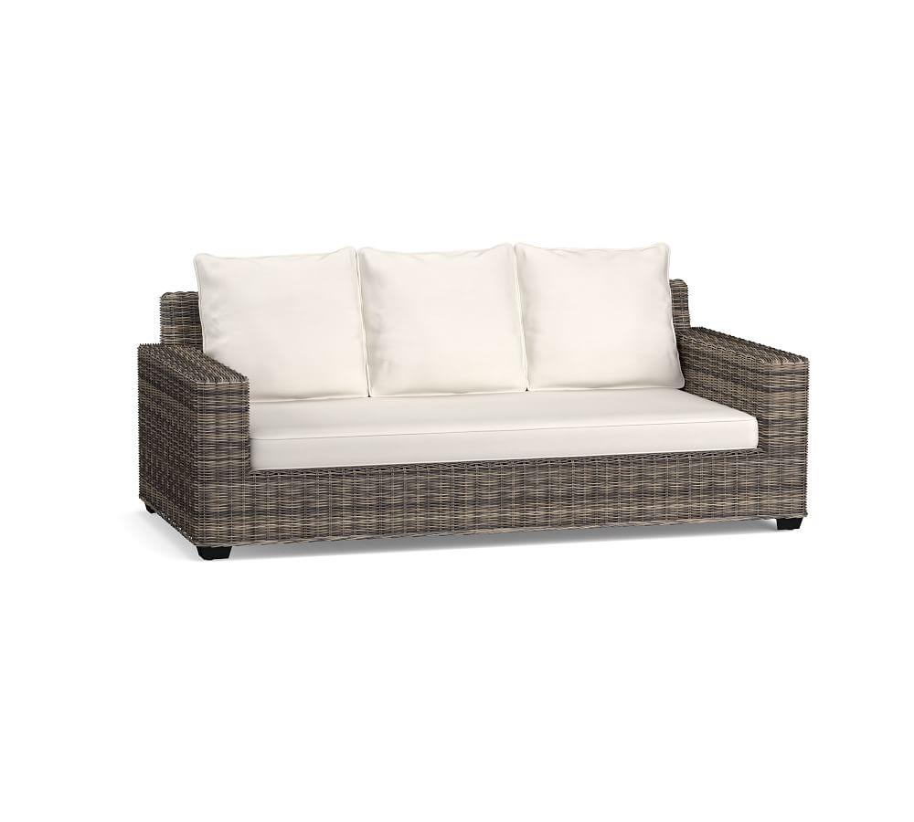 Torrey All-Weather Wicker Square Arm Sofa, Charcoal Gray
