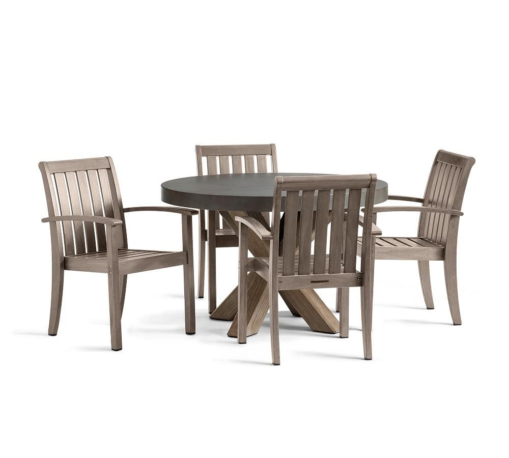 Abbott Gray Dining Table  Gray Chatham Stacking  Chair Set