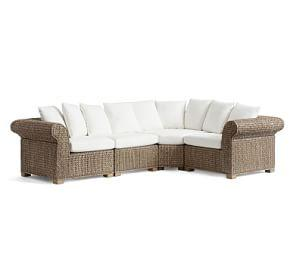 Seagrass 4-Piece Sectional with Wedge