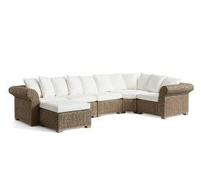 Seagrass 5-Piece Sectional with Wedge and Ottoman