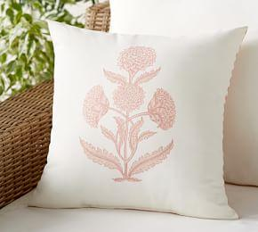 Outdoor Aleyna Floral Reversible Stripe Pillow